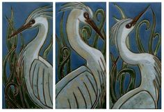 Bosetti Art Tiles - Marsh Herons Collection