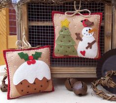 PRIM LINZ WOOL FELT CHRISTMAS HANGERS PATTERNS - 4 PATTERNS AVAILABLE | eBay