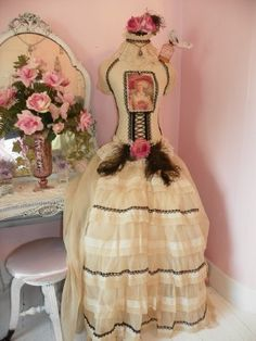 Antoinette in Decadence II Lovely Lady Sitting Dress Form-romantic,shabby,chic,french,marie antoinette,dress form,mannequin,lace,rhinestone,vintage,ROSES,PINK