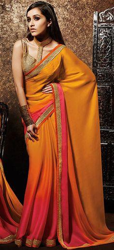 USD 46.26 Shraddha Kapoor Yellow Shaded Satin Chiffon Bollywood Saree 42977