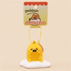 cute Gudetama egg yolk with mustache squishy charm kawaii