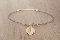 Delicate Bracelet gold filled leaf charm or custom by Bloomarine