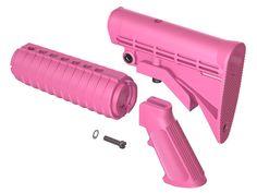 AR15 M4 QD Enhanced Buttstock, Handguard and A2 Grip Furniture Kit--Kitty Pink
