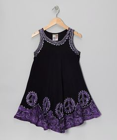 Take a look at this Black & Purple Peace Sign Dress - Toddler & Girls on zulily today!