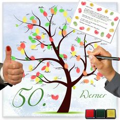 * The fingerprint tree (called wishing tree) is exactly the same for a birthday … - Diy Gifts Ideas Sven Bender, Lars Bender, Tree Wedding, Diy Wedding, Wedding Gifts, 60 Wedding Anniversary, Anniversary Cards, Fingerprint Tree, Kids Party Games