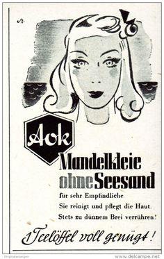 Original-Werbung/ Anzeige 1942 - AOK MANDELKLEIE OHNE SEESAND - ca. 45 x 75 mm