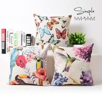 Pays encre oiseau Floral oreiller coussins, Parrot papillon coussin, Linge taie, Coussins du canapé oreillers décoratifs pour la maison