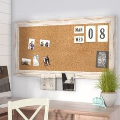 Beachcrest Home Marion Wall Mounted Bulletin Board Size: H x W x D – Home Office Design On A Budget Cork Board Ideas For Bedroom, Diy Cork Board, Framed Cork Boards, Cork Wall, Easy Home Decor, My New Room, Bedroom Decor, Girls Bedroom, Bedroom Ideas
