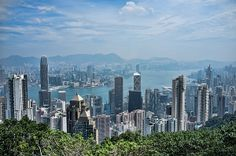 Cityscape of Hong Kong as seen from The Peak vantage point