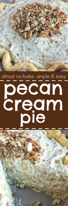 Pecan Cream Pie - a flaky, tender pie crust filled with a thick & creamy pecan mixture. This whipped cream pie is a delicious Fall twist to a traditional cream pie recipe and makes for an excellent Thanksgiving dessert pie | togetherasfamily.com
