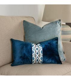 Passementerie cushion cover, Elegant cushion cover,Pattern cover pillow, navy blue velvet, 30x50cm, tape decorative, tape Samuel&Sons