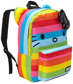 Hello Kitty rainbow backpack. Our girls love this