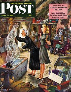 Attic Treasure. Saturday Evening Post, July 7, 1947 (Constantin Alajalov)