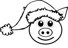 Pig 1 face Pink with Santa Hat Black White Line Art Christmas Xmas