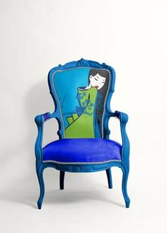 painted or upholstered art chair Funky Furniture, Paint Furniture, Upcycled Furniture, Unique Furniture, Furniture Makeover, Inexpensive Furniture, Office Furniture, Funky Chairs, Cool Chairs