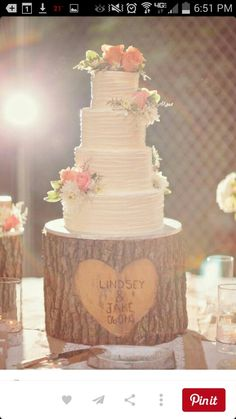 Wedding cake on custom log stand