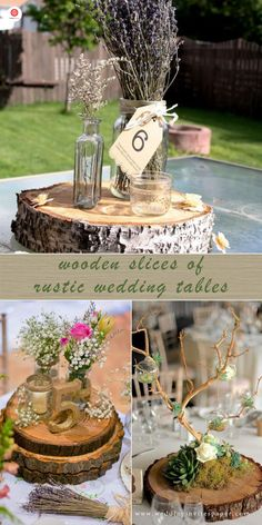 Top 23 Remarkable Rustic Wedding Centerpieces---wooden slice with lavender and mason jars, fall weddings, diy table settings Rustic Centerpieces, Rustic Wedding Centerpieces, Rustic Weddings, Country Weddings, Wedding Decorations, Lemon Wedding Cakes, Cupcake Stand Wedding, Wooden Slices, Wedding Table Settings