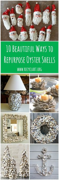 10 Beautiful Ways to Repurpose Oyster Shells is part of Recycled crafts Lamp - It's the first time we share with you some ideas of decorations made from upcycled Oyster shells! Oyster shells are … Oyster Shell Crafts, Oyster Shells, Oyster Diy, Seashell Art, Seashell Crafts, Seashell Ornaments, Seashell Projects, Sea Crafts, Painted Shells