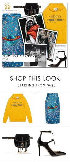 """""""How to Style a Yellow Gucci Sweatshirt with a Blue Sequin Skirt for Fall Travel to New York City for NYFW"""" by outfitsfortravel ❤ liked on Polyvore featuring Gucci, Balmain, Prada, Jimmy Choo and E L L E R Y"""