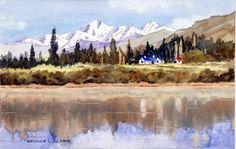Many beginners struggle to paint realistic reflections in water. In this art lesson you will use a photograph of Lake  Hayes in the South Island of New Zealand and learn to paint the water reflections in watercolour.