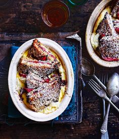 Australian Gourmet Traveller recipe for rhubarb and ricotta bread and butter pudding.
