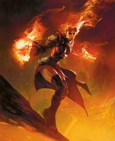 Chandra the firebrand, female pyromancer wielding fire