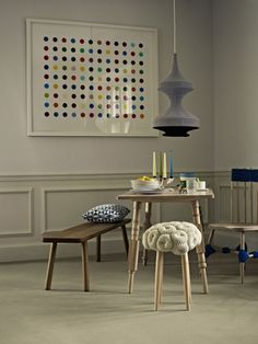 Knit chairs... love the wooden table legs, and the knotted chair legs in blue.
