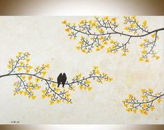 ❘❘❙❙❚❚ EN SOLDE ❚❚❙❙❘❘  TITRE: «les chansons des oiseaux et le parfum des fleurs»  Dimensions : 48 « x 24 » x 0,8   Thème : Amour des oiseaux sur des branches darbre.  MÉDIUM : Acrylique de qualité professionnelle ou des huiles sur toile étirée. Les côtés sont peint en noir, il nest pas nécessaire dencadrer. Une couche de vernis est appliquée afin de protéger la peinture.  EXPÉDITION : Canada Post accéléré aux États-Unis ou au Canada. Votre art est expédié à vous professionnellement…