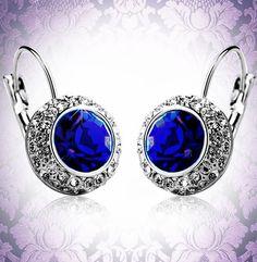 Royal Blue Swarovski Elements Kate Middleton Inspired Earrings - Save 92% Just $15.95