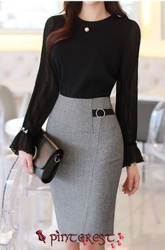 Kreis Schnalle Seite Detail Wrap Style Bleistiftrock Check more at. The Effective Pictures We Offe Stylish Work Outfits, Office Outfits, Classy Outfits, Stylish Outfits, Office Uniform, Stylish Eve, Work Casual, Women's Casual, Fall Outfits