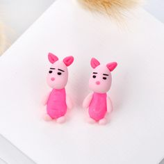 Hot Sale Handmade Polymer Clay Pink Cute Piglet Stud Earrings For Women Fashion Animal Piercing Earring Jewelry Gifts 9192