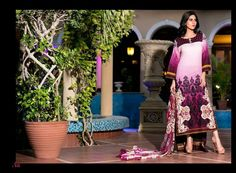 GL-AZ04A 3 Piece lawn suit. Top - Embroidered & printed lawn Pants - Plain lawn fabric Dupatta - Printed Chiffon
