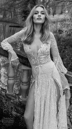 inba dror fall 2018 bridal long poet sleeves deep v neck full embellishment double slit skirt romantic sexy a line wedding dress open back chapel train (14) zv