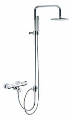 Brick Wall Mount Thermostatic Tub and Shower Faucet with Hand Shower