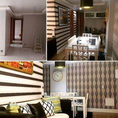 Antes e depois. Com pintura papel de parede e piso laminado foi possível transformar esse ambiente em 1 mês. Lustre pendente de madeira e laca #dimeliluminação #papeldeparede #luxdecoracoes #durarex_pisosepaineis #durafloor #tokstok #lartex #lartexclusive #antesedepois #salas #salaspequenas #salasdecoradas #bihelfurtadoarquitetura #amooquefaço #trabalhocomamor #arquiteturadeinteriores http://ift.tt/2clOGg6