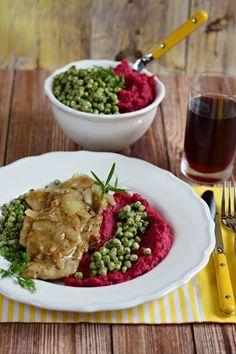 Hagymás-fűszeres karaj céklás burgonyapürével recept - Kifőztük, online gasztromagazin Pork, Beef, Kale Stir Fry, Meat, Pork Chops, Steak