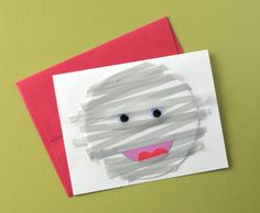 Make a washi tape mummy for a spooky card for Halloween.