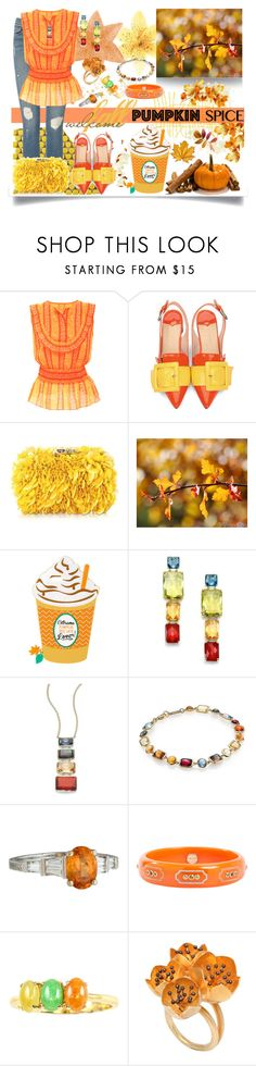 """""""Coffee Date: Pumpkin Spice Contest Entry"""" by jeneric2015 ❤ liked on Polyvore featuring Frame, Tory Burch, Corto Moltedo, Ippolita, Mark Davis, Rebecca Koven and pss"""