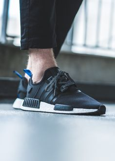 adidas 'black / blue' (via… Adidas Nmd Outfit, Adidas Nmd R1 Pink, Adidas Shoes Nmd, Black Adidas, Adidas Nmd Men, Adidas Sport, Sneakers Fashion, Fashion Shoes, Mens Fashion