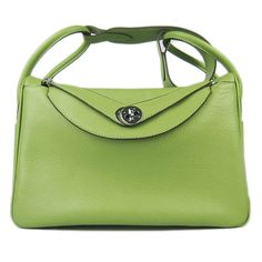 Hermes Lindy Green Embossed Grain Handbag
