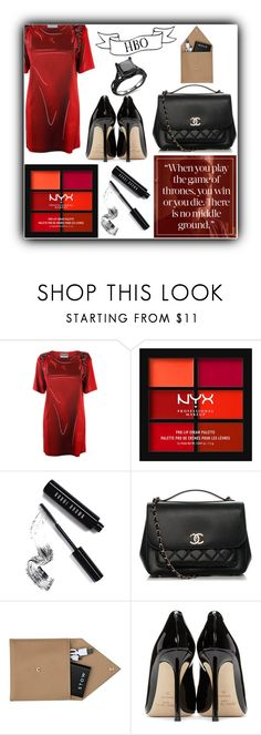 """""""Game of Thrones Is Back!!!"""" by dreamingdaisy ❤ liked on Polyvore featuring Moschino, NYX, Bobbi Brown Cosmetics, Chanel, STOW and Jimmy Choo"""