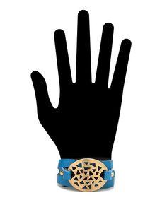 Geo Cutout Genuine Leather Bracelet - Blue  $19.50