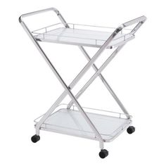 Zuo Modern Vesuvius Serving Cart - Glass & Stainless Steel