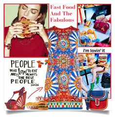 """""""Fast Food And The Fabulous"""" by annabu ❤ liked on Polyvore featuring Sebastian Professional, Dolce&Gabbana, Marc Jacobs, Junk Food Clothing, Wedges, prints, food and FoodandFashion"""
