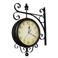 Retro Fashion, Minimalist, Clock, Display, Mirror, Metal, Glass, Wall, Roman