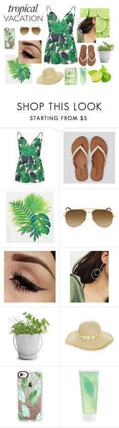 """""""Tropical Vacation"""" by ella-moss1890 ❤ liked on Polyvore featuring American Eagle Outfitters, Yves Saint Laurent, Potting Shed Creations, BP., Casetify, Elizabeth Arden and Topshop"""