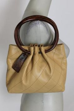 authentic CHANEL Camel Quilted Leather Hand Bag Purse Wood Handles