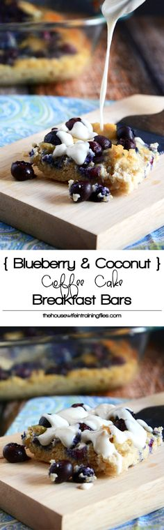 Blueberry & Coconut Coffee Cake Breakfast Bars are made with juicy blueberries and creamy coconut butter make these soft coconut coffee cake bars so delicious! Paleo Dessert, Healthy Desserts, Dessert Recipes, Paleo Sweets, Breakfast Bars Healthy, Breakfast Recipes, Blueberry Breakfast, Breakfast Cake, Blueberry Bars
