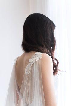 Cape veil with lace - Bridal cape veil - Wedding cape veil - Modern veil - Shoulder cape - Wedding Dresses Wedding Cape Veil, Bridal Cape, Wedding Dresses, Zuhair Murad, Elie Saab, Veil Length, Shoulder Cape, Bhldn Wedding, Lace Wedding