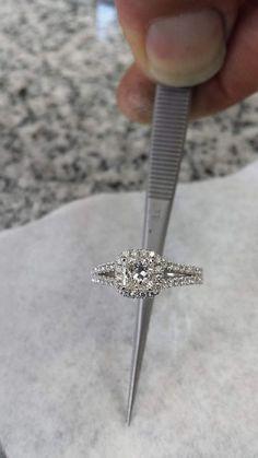 Etsy Princess Cut Engagement Ring, 14K White Gold, Halo Engagement Ring, 1.00 Carat Center Stone